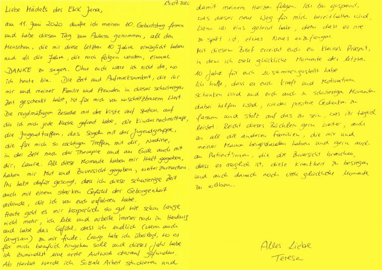 Brief von Teresa, ehemals betroffene Patientin.